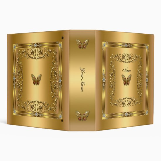 Elegant Gold Butterfly Floral 3 Ring Binder