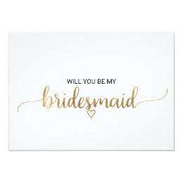 Elegant Gold Calligraphy Bridesmaid Proposal Card