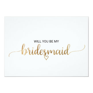 Elegant Gold Calligraphy Bridesmaid Proposal Card
