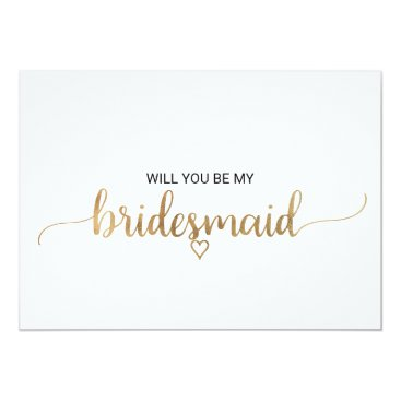 Valentines Themed Elegant Gold Calligraphy Bridesmaid Proposal Card