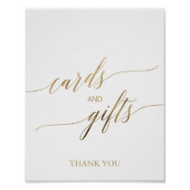 Elegant Gold Calligraphy Cards and Gifts Sign