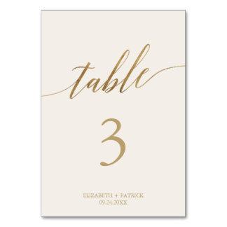 Elegant Gold Calligraphy Cream Table Number