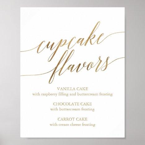 Elegant Gold Calligraphy Cupcake Flavors Sign