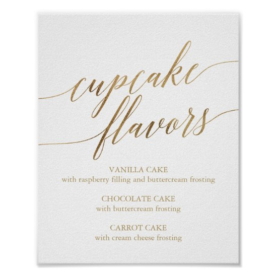 Elegant Gold Calligraphy Cupcake Flavors Sign