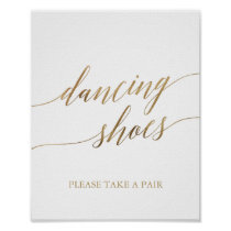 Elegant Gold Calligraphy Dancing Shoes Sign
