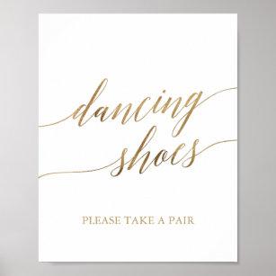 197d61adb Elegant Gold Calligraphy Dancing Shoes Sign