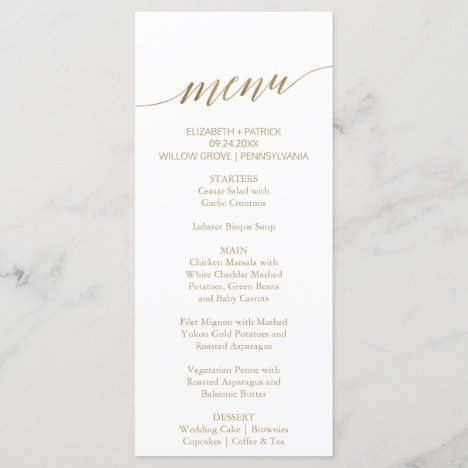 Elegant Gold Calligraphy Dinner Menu Card