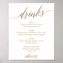 Elegant Gold Calligraphy Drink Menu Sign