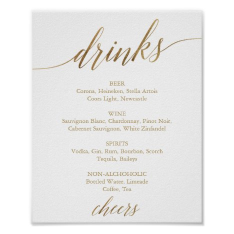Elegant Gold Calligraphy Drink Menu Sign
