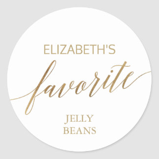 Elegant Gold Calligraphy His and Her Favorite Classic Round Sticker