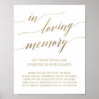 Elegant Gold Calligraphy In Loving Memory Sign