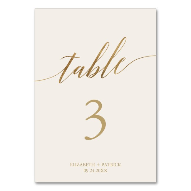 Elegant Gold Calligraphy | Ivory Table Number