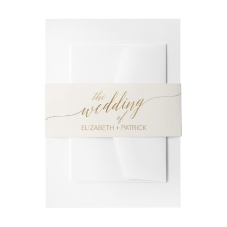 Elegant Gold Calligraphy Ivory Wedding Belly Band