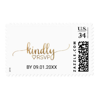 Elegant Gold Calligraphy Kindly RSVP Wedding Postage