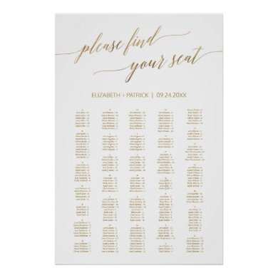 Elegant Gold Calligraphy Large 200  Seating Chart