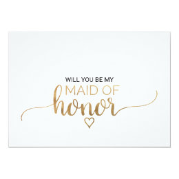 Elegant Gold Calligraphy Maid Of Honor Proposal Card