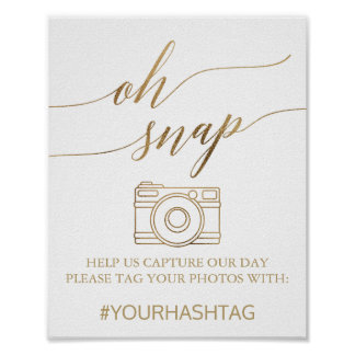Elegant Gold Calligraphy Oh Snap Sign