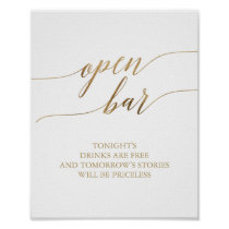 Elegant Gold Calligraphy Open Bar Sign