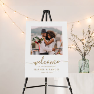 Elegant Gold Calligraphy Photo Wedding Welcome  Foam Board