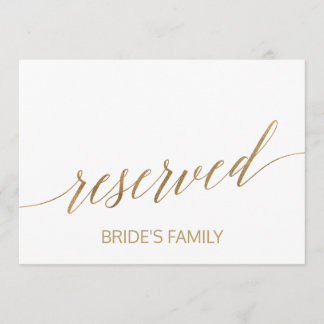 Elegant Gold Calligraphy Reserved Sign