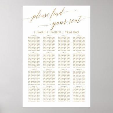 Elegant Gold Calligraphy Seating Chart