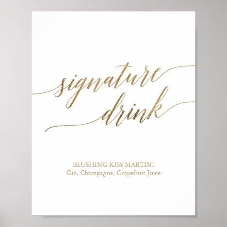 Elegant Gold Calligraphy Signature Drink Sign