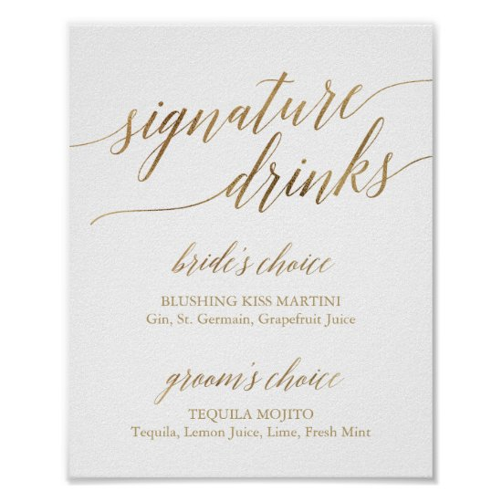 Elegant Gold Calligraphy Signature Drinks Sign