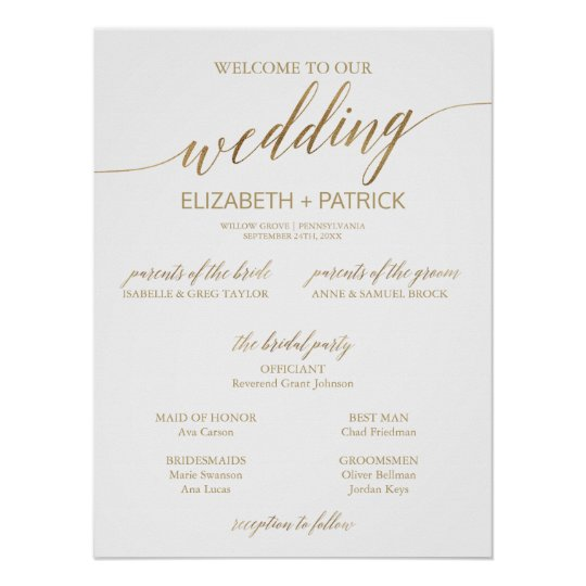 elegant gold calligraphy small wedding program poster zazzle com