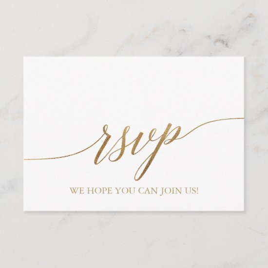 Elegant Gold Calligraphy Song Request RSVP Card
