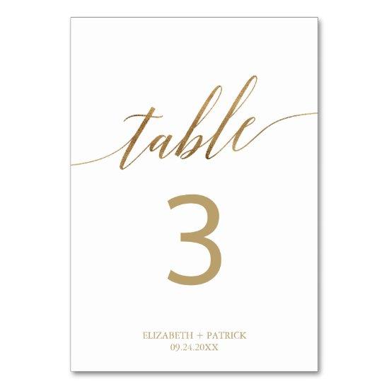 Elegant Gold Calligraphy Table Number