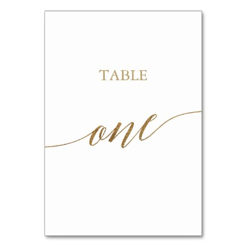Elegant Gold Calligraphy Table One Table Number