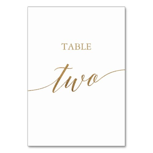 Elegant Gold Calligraphy Table Two Table Number