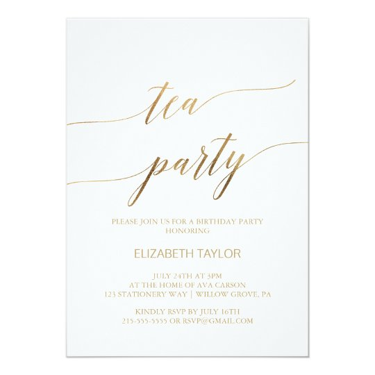 Elegant Gold Calligraphy Tea Party Birthday Invitation