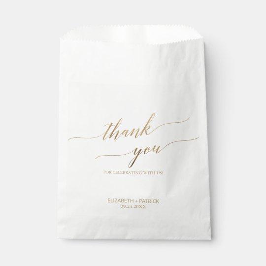 Elegant Gold Calligraphy Thank You Wedding Favor Bag Zazzle