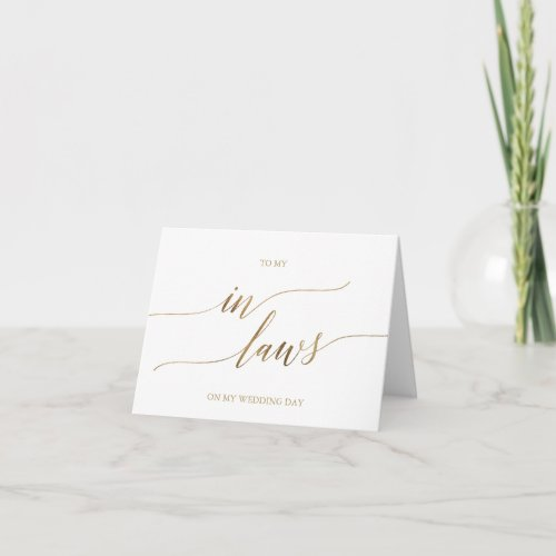 Elegant Gold Calligraphy To My In_Laws Card