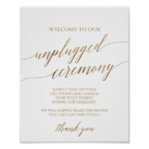 Elegant Gold Calligraphy Unplugged Ceremony Sign