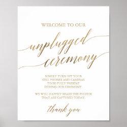 Elegant Gold Calligraphy Unplugged Ceremony Sign