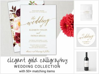 Elegant Gold Calligraphy Wedding Collection