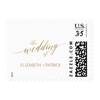 Elegant Gold Calligraphy Wedding Postage