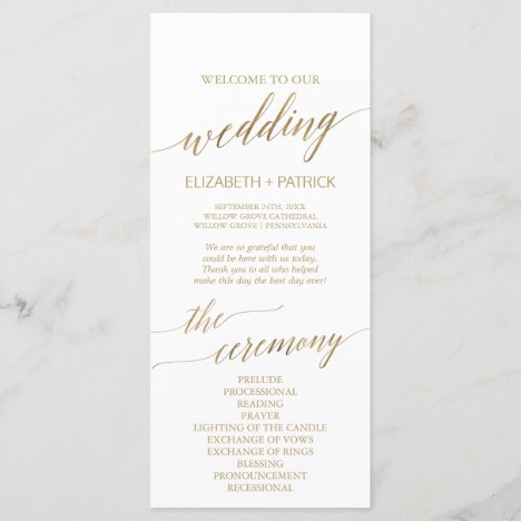 Elegant Gold Calligraphy Wedding Program