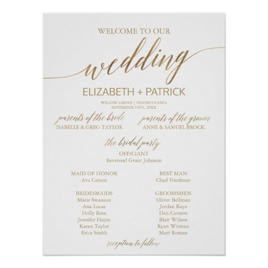 Elegant Gold Calligraphy Wedding Program Poster