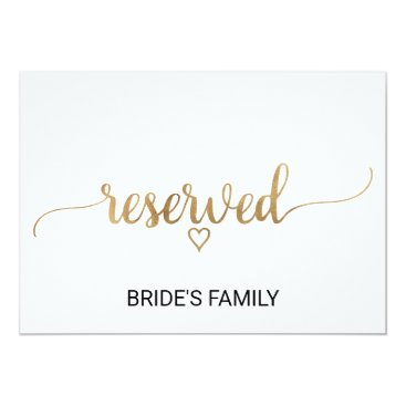 Valentines Themed Elegant Gold Calligraphy Wedding Reserved Sign Card