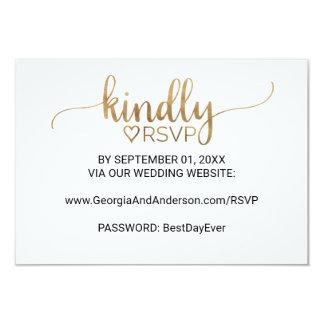 Elegant Gold Calligraphy Wedding Website RSVP Card