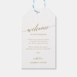 2a28f07d6 Elegant Gold Calligraphy Wedding Welcome Gift Tags