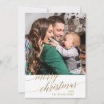 """Elegant Gold Calligraphy Year In Review Photo Holiday Card<br><div class=""""desc"""">This elegant gold calligraphy year in review photo holiday card is the perfect simple Christmas greeting. The neutral design features a minimalist holiday card decorated with romantic and whimsical faux gold foil typography. Personalize the card with your family name, first names, and year. Include a year in review or family...</div>"""