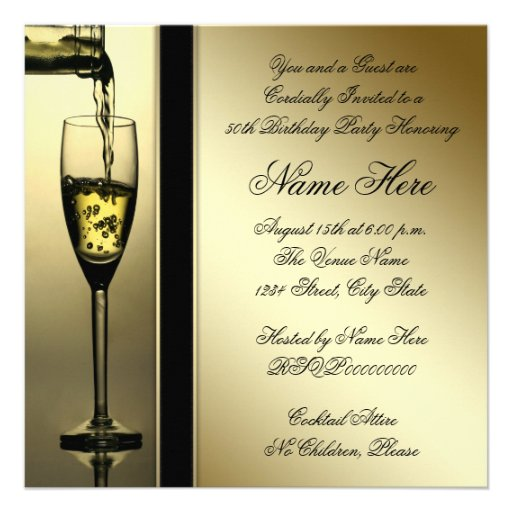 Elegant Gold Champagne 50th Birthday Party Personalized Invitation (back side)