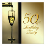 Elegant Gold Champagne 50th Birthday Party Personalized Invitation