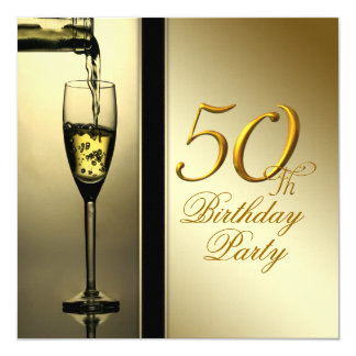 "Elegant Gold Champagne 50th Birthday Party 5.25"" Square Invitation Card"
