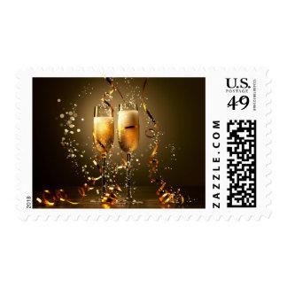 Elegant Gold Champagne Postage Stamp