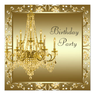 Elegant Gold Chandelier Birthday Party Invitations